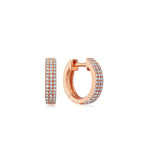 Diamond 3 Row Mini Huggie Earring - 14K Rose Gold - Olive & Chain Fine Jewelry