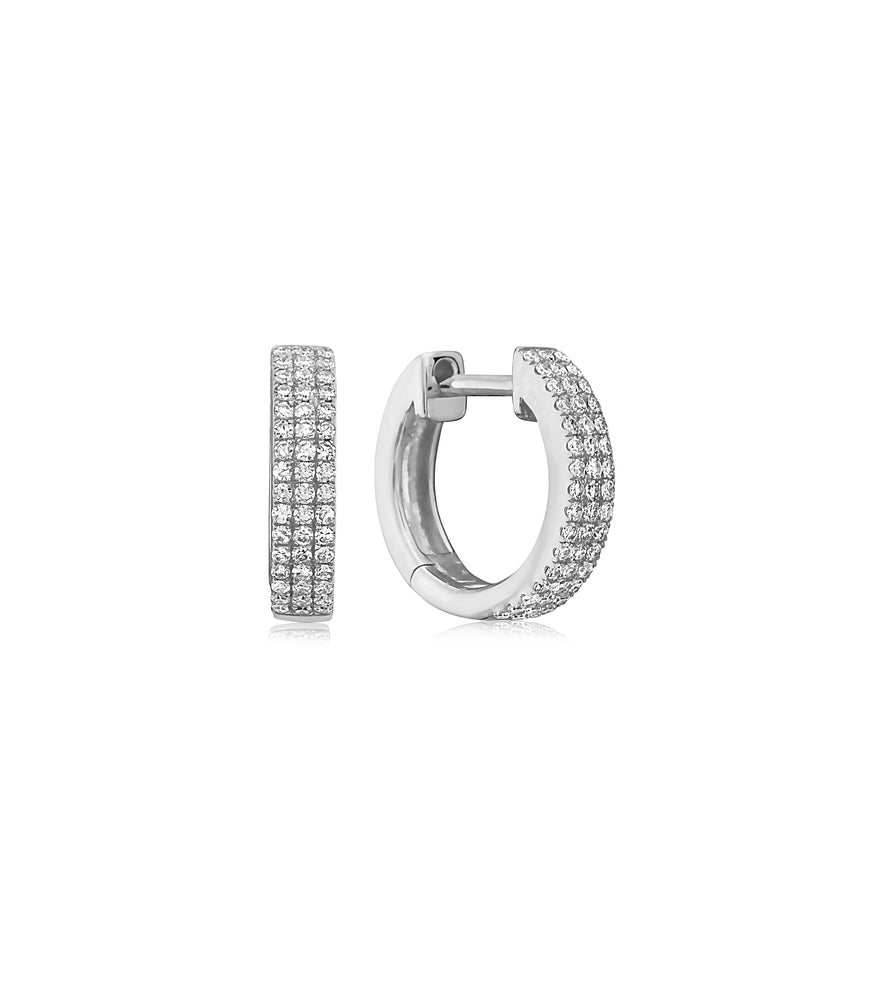 Diamond 3 Row Mini Huggie Earring - 14K White Gold - Olive & Chain Fine Jewelry