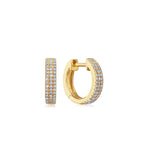 Diamond 3 Row Mini Huggie Earring - 14K Yellow Gold - Olive & Chain Fine Jewelry