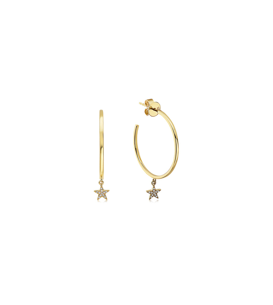 Diamond Star Dangle Hoop Earring - 14K Yellow Gold - Olive & Chain Fine Jewelry