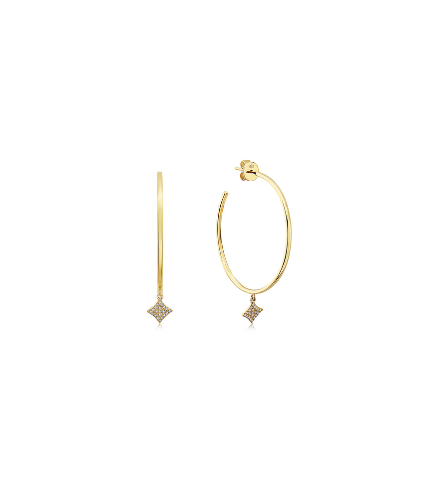 Diamond Firework Dangle Large Hoop Earring - 14K Yellow Gold - Olive Jewelry