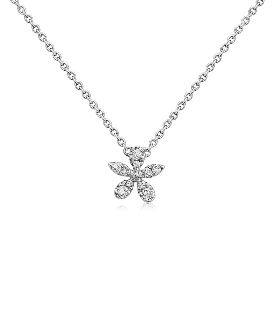 Diamond Flower Necklace - 14K White Gold - Olive & Chain Fine Jewelry