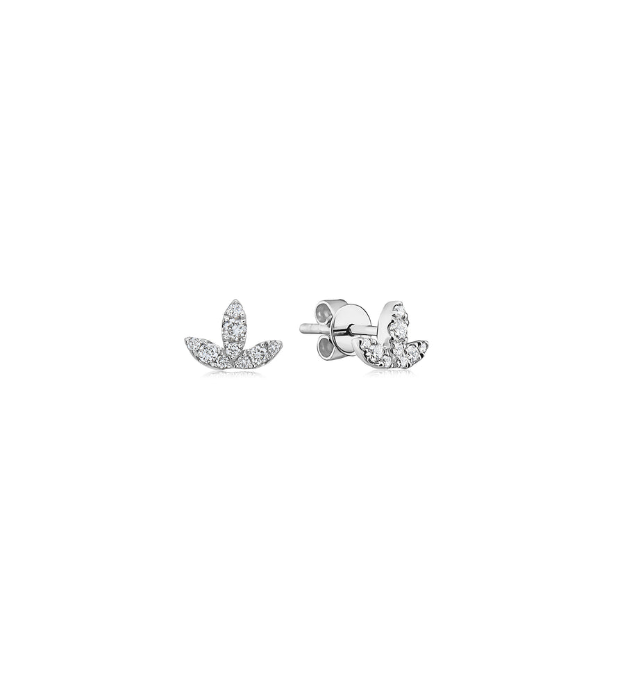 Diamond Petal Stud Earring - 14K White Gold - Olive & Chain Fine Jewelry