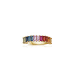 Rainbow Sapphire Baguette Band - 14K Yellow Gold / 5 - Olive & Chain Fine Jewelry