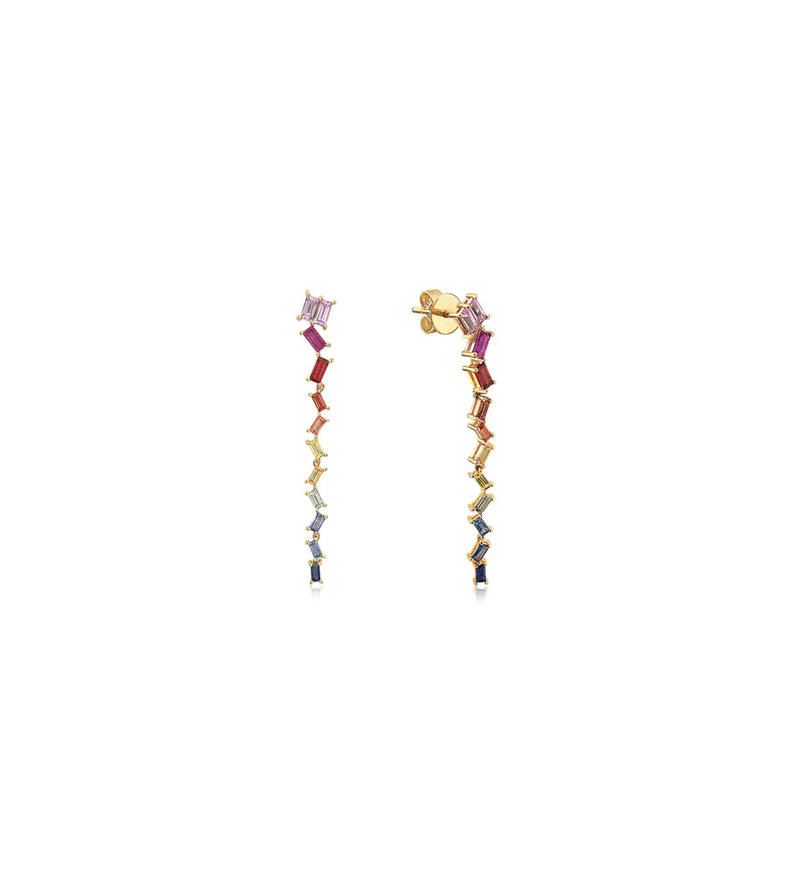 Rainbow Sapphire Drop Earring - 14K Yellow Gold - Olive & Chain Fine Jewelry