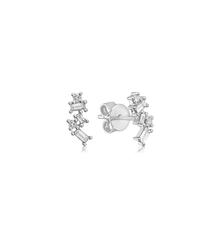 Diamond Baguette Cluster Stud Earring - 14K White Gold - Olive Jewelry
