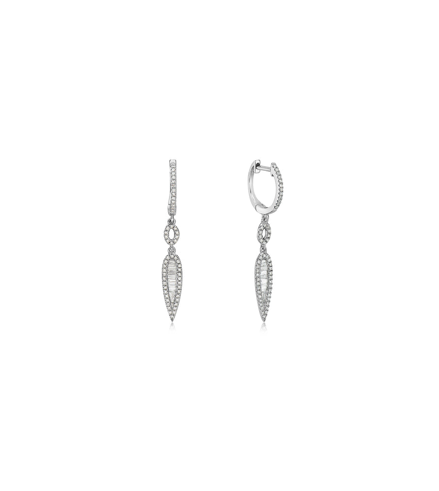 Diamond Baguette & Halo Drop Earring - 14K White Gold - Olive & Chain Fine Jewelry