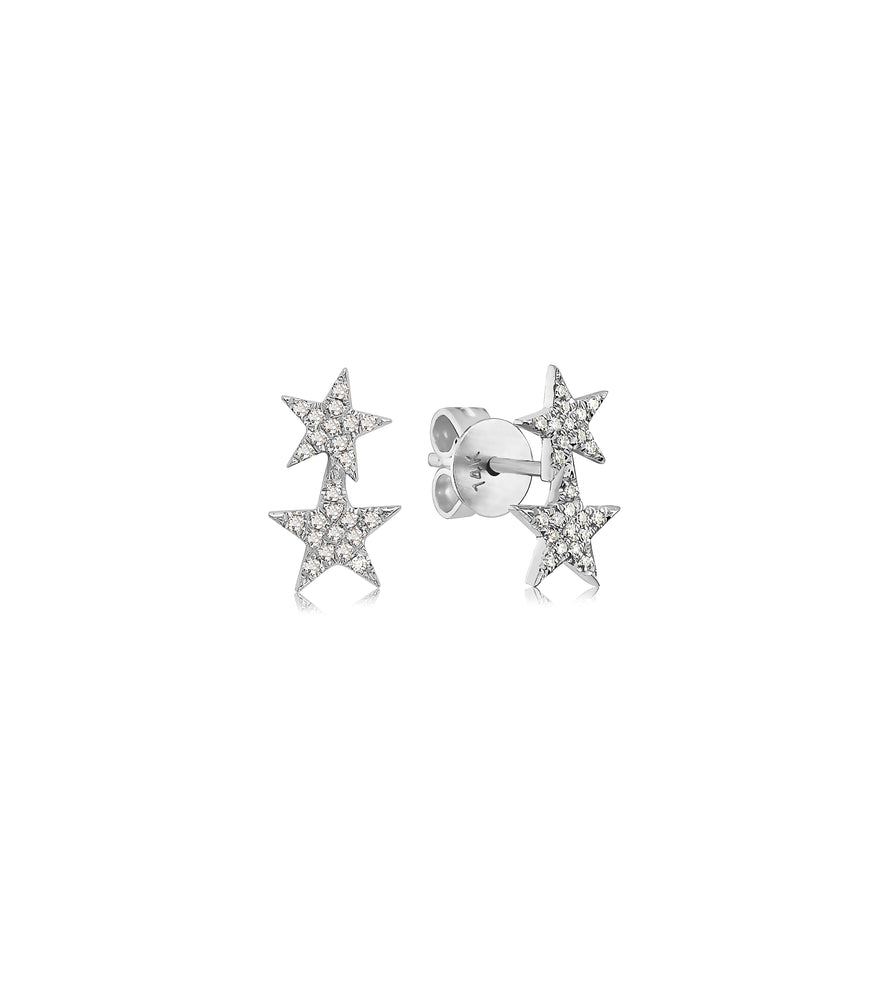 Diamond Double Star Stud Earring - 14K White Gold - Olive Jewelry