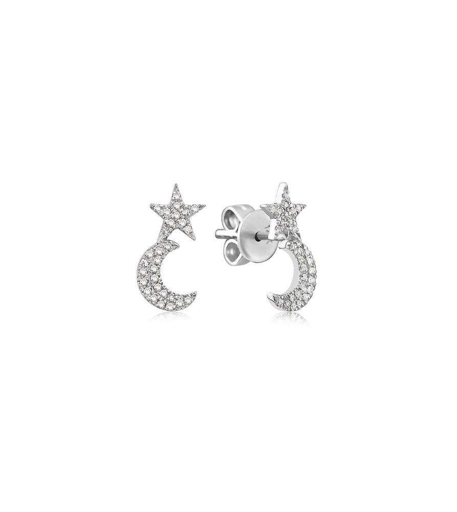 Diamond Star Moon Stud Earring