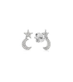 Diamond Star Moon Stud Earring - 14K White Gold - Olive & Chain Fine Jewelry
