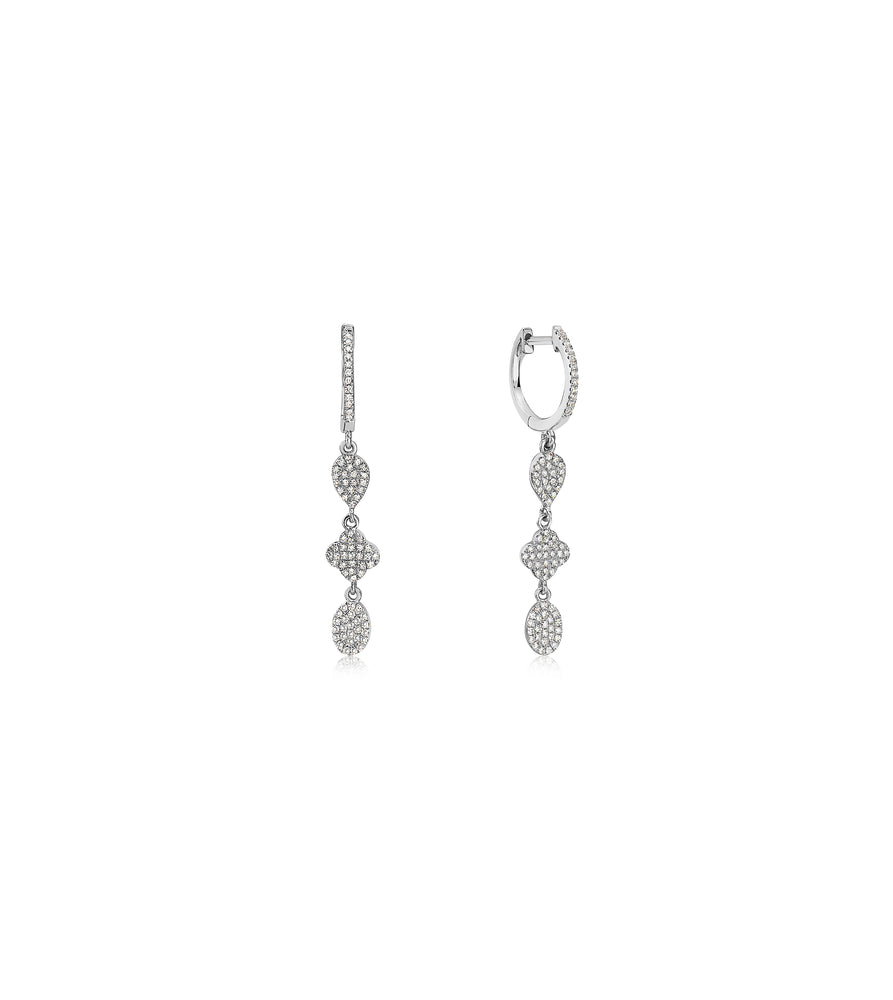 Diamond Charm Drop Earring - 14K White Gold - Olive & Chain Fine Jewelry