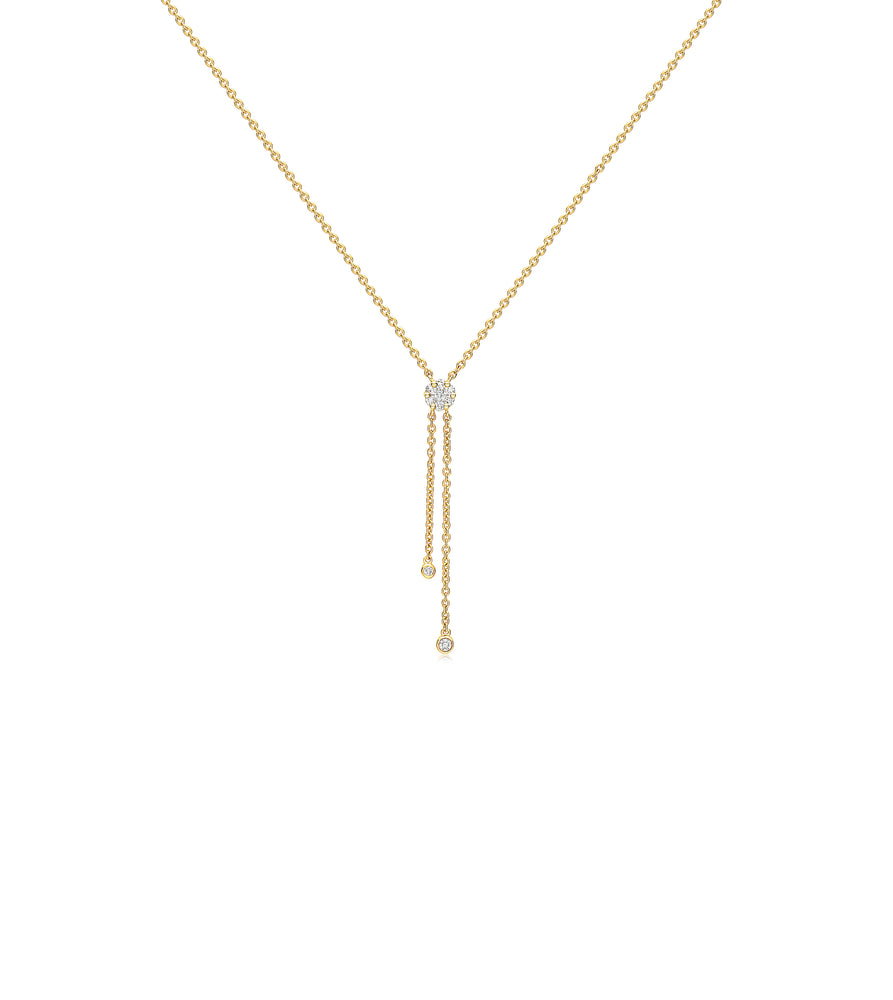 Diamond Lariat Necklace - 14K Yellow Gold - Olive & Chain Fine Jewelry