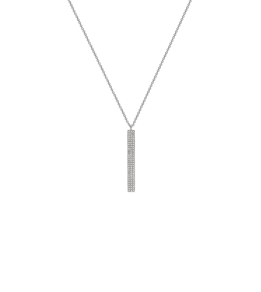 Diamond Vertical Bar Necklace - 14K White Gold - Olive & Chain Fine Jewelry