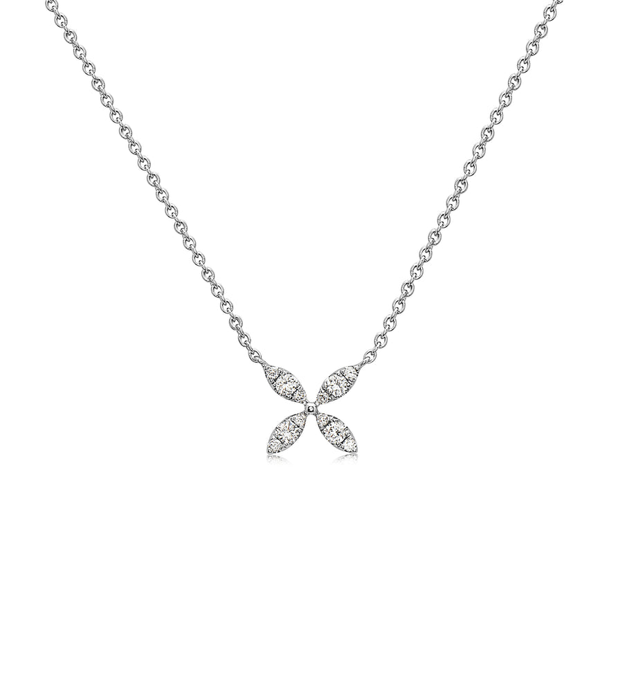 Diamond X Florette Necklace - 14K White Gold - Olive Jewelry