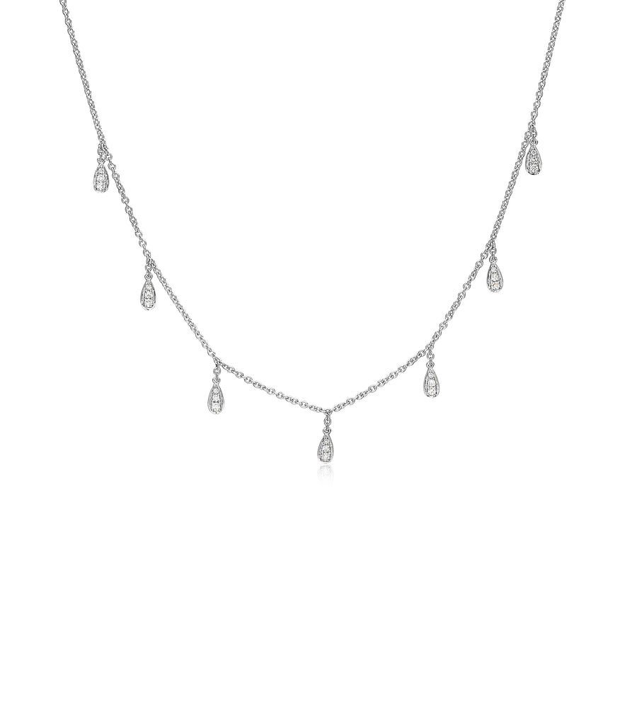 Diamond Pear Dangle Necklace - 14K White Gold - Olive & Chain Fine Jewelry