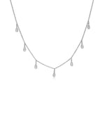 Diamond Pear Dangle Necklace - 14K White Gold - Olive Jewelry