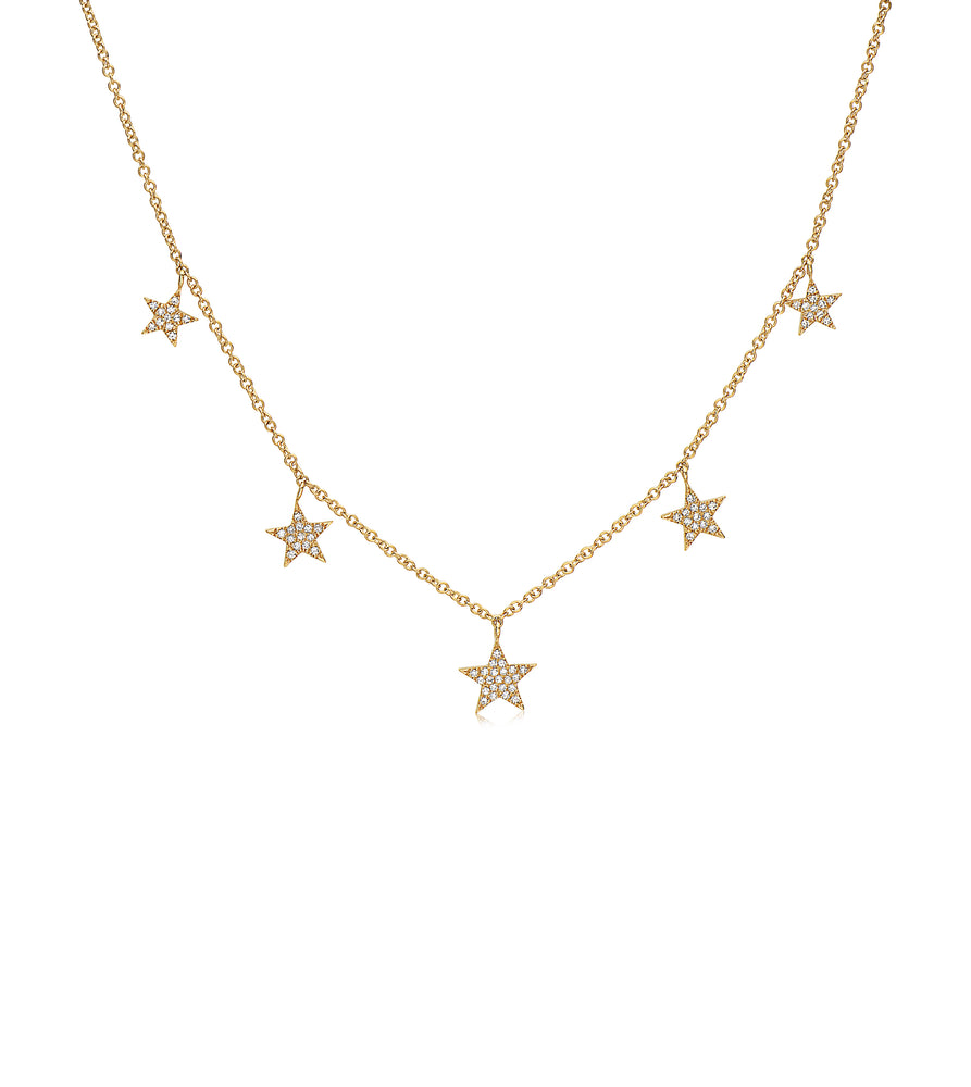 Diamond 5 Star Charm Necklace - 14K Yellow Gold - Olive & Chain Fine Jewelry