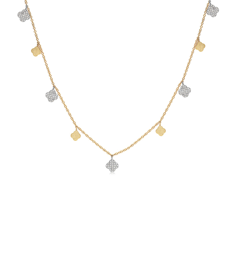Diamond Clover Charm Long Necklace