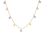 Diamond Clover Charm Long Necklace - 14K Two-Tone Gold - Olive Jewelry