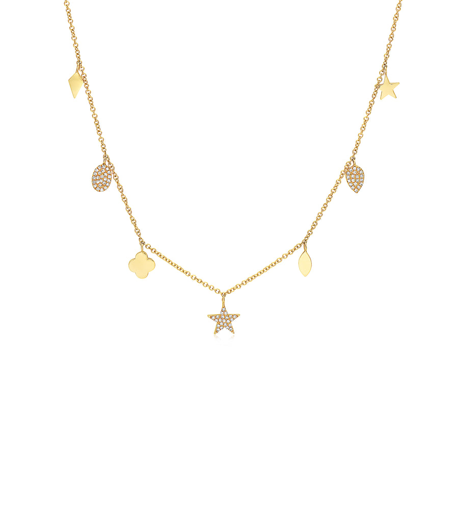 Diamond Charm Long Necklace - 14K Yellow Gold - Olive Jewelry