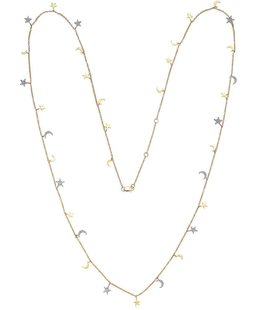 Diamond Star-Moon Charm Long Necklace - 14K  - Olive & Chain Fine Jewelry
