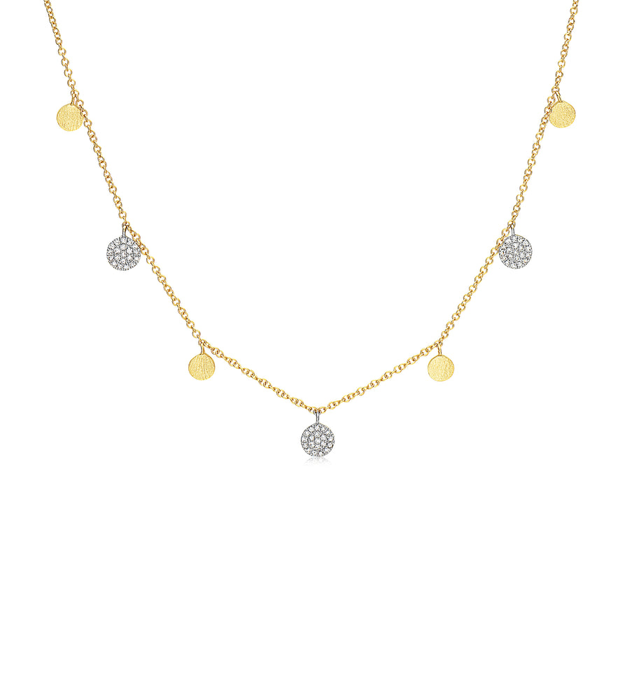 Diamond Disc Charm Long Necklace