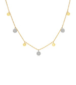 Diamond Disc Charm Long Necklace - 14K Two-Tone Gold - Olive & Chain Fine Jewelry
