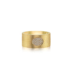 Diamond Oval Cigar Band - 14K Yellow Gold / 5 - Olive Jewelry