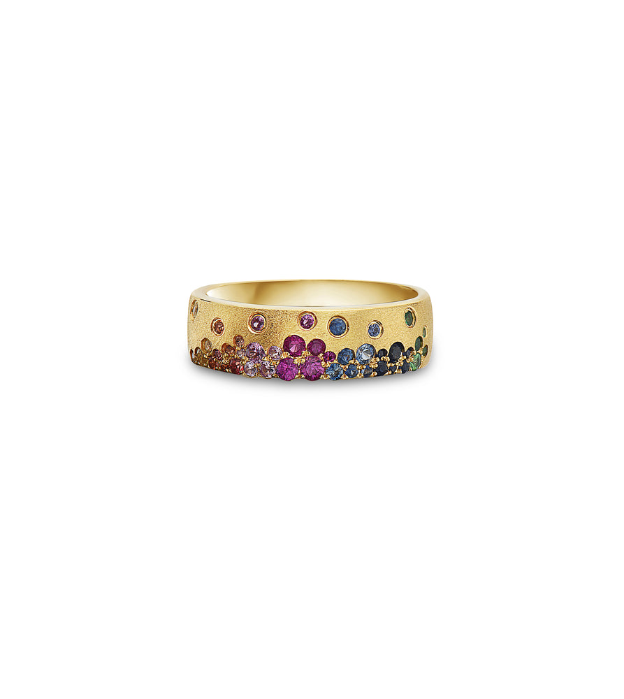 Rainbow Scatter Mini Cigar Band - 14K Yellow Gold / 5 - Olive Jewelry