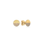 Diamond Half Disc Stud Earring