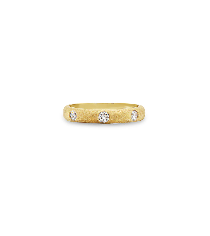 Diamond 3 Stone Flush Band - 14K Yellow Gold / 5 - Olive & Chain Fine Jewelry