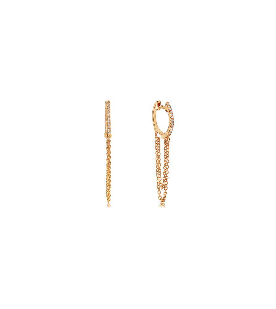 Diamond Huggie Chain Earring