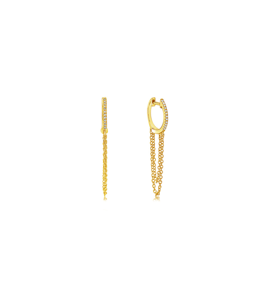 Diamond Huggie Chain Earring - 14K Yellow Gold - Olive & Chain Fine Jewelry