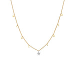 Diamond Star & Moon Charm Necklace - 14K Two-Tone Gold - Olive & Chain Fine Jewelry