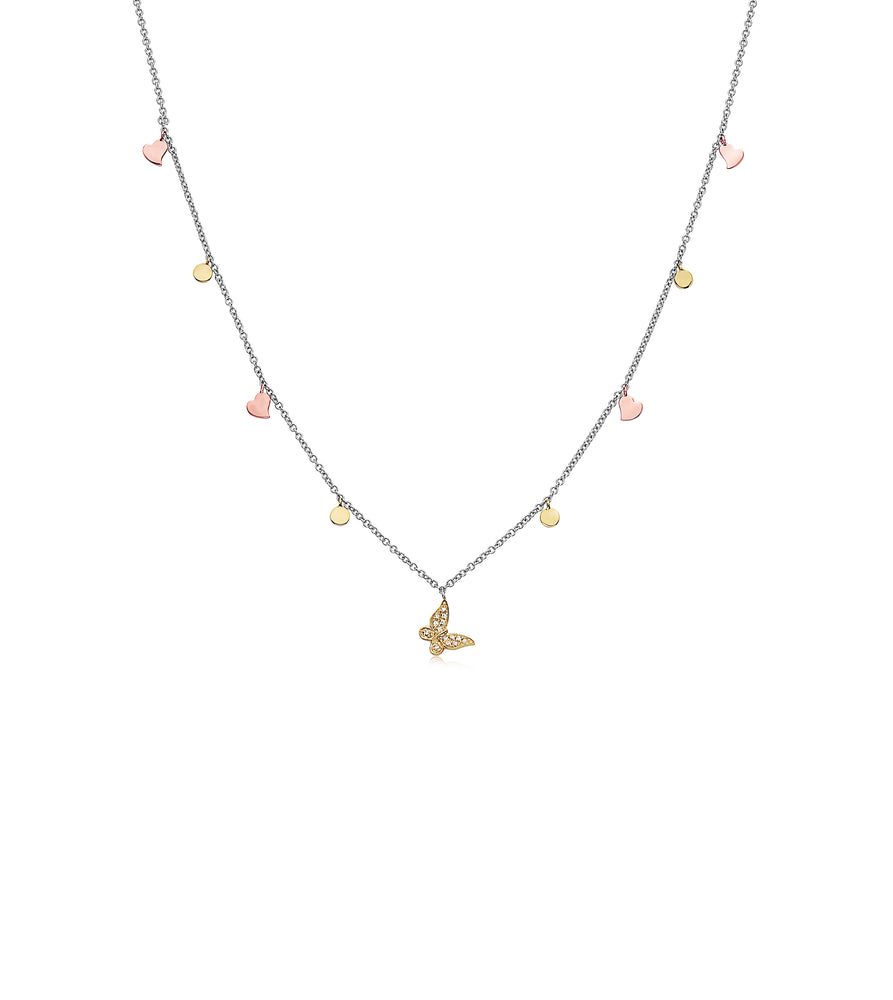 Diamond Butterfly & Charm Necklace - 14K Two-Tone Gold - Olive Jewelry