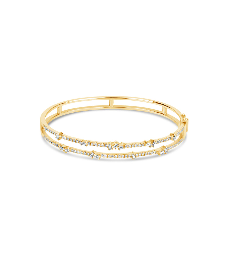 Diamond Double Row Bangle - 14K Yellow Gold / 7 inch - Olive & Chain Fine Jewelry