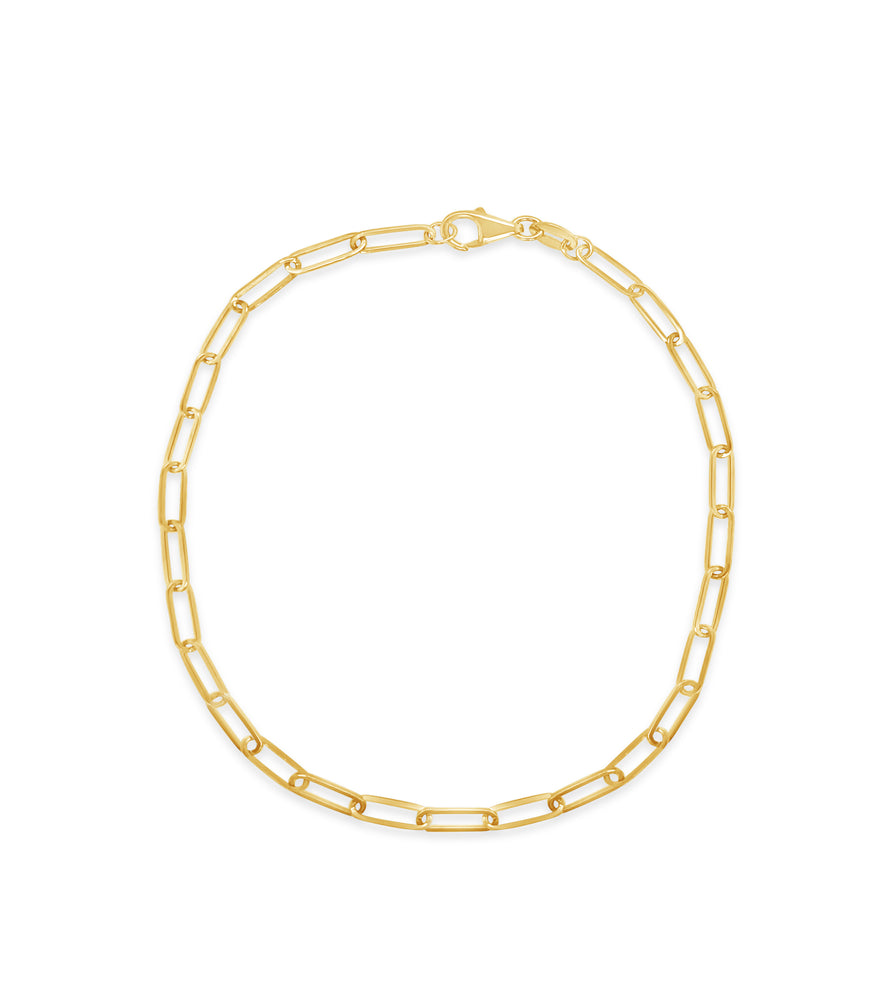 Gold Paperclip Chain Bracelet - 14K Yellow Gold / 2.5mm - Olive & Chain Fine Jewelry