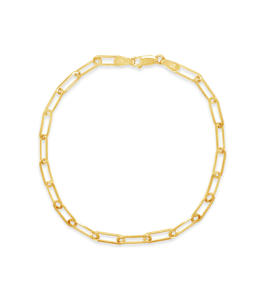 Gold Paperclip Chain Bracelet - 14K Yellow Gold / 3.3mm - Olive & Chain Fine Jewelry