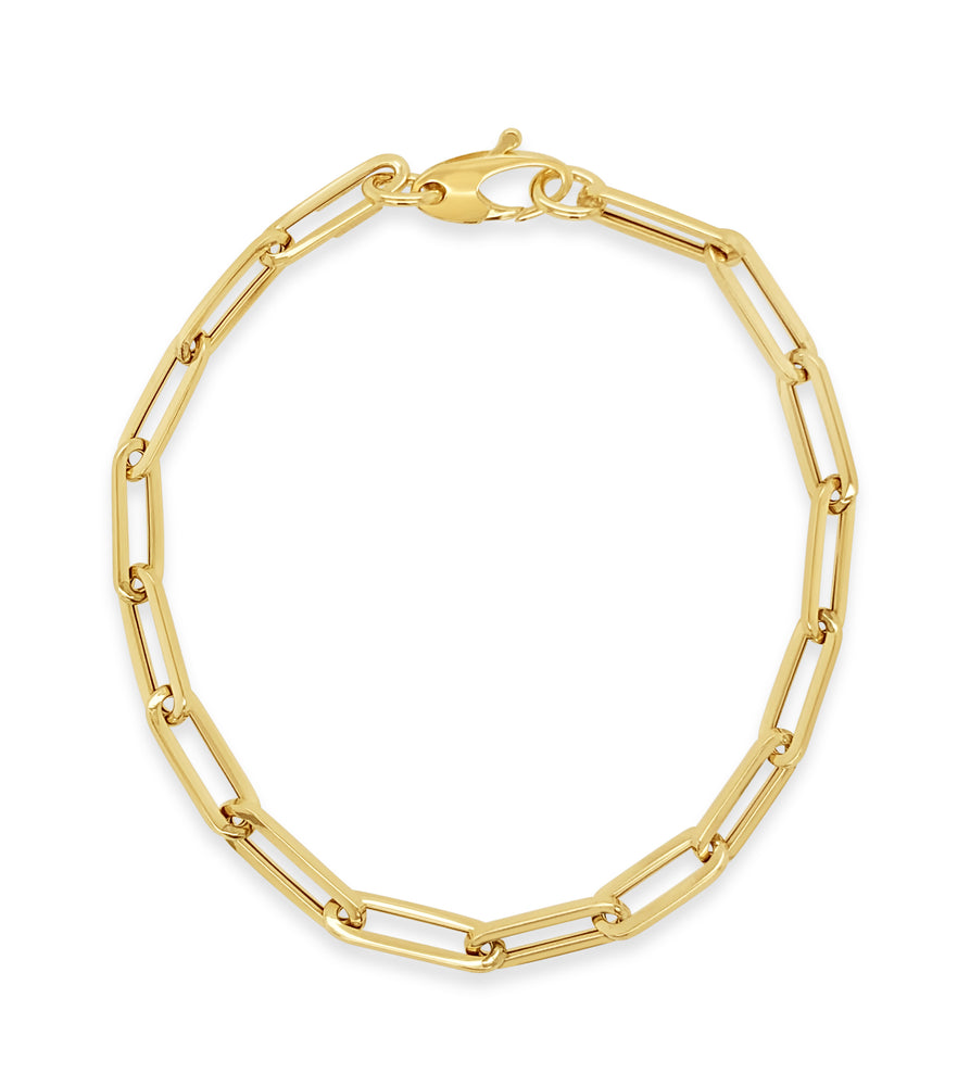 Gold Paperclip Chain Bracelet - 14K Yellow Gold / 4.2mm - Olive & Chain Fine Jewelry