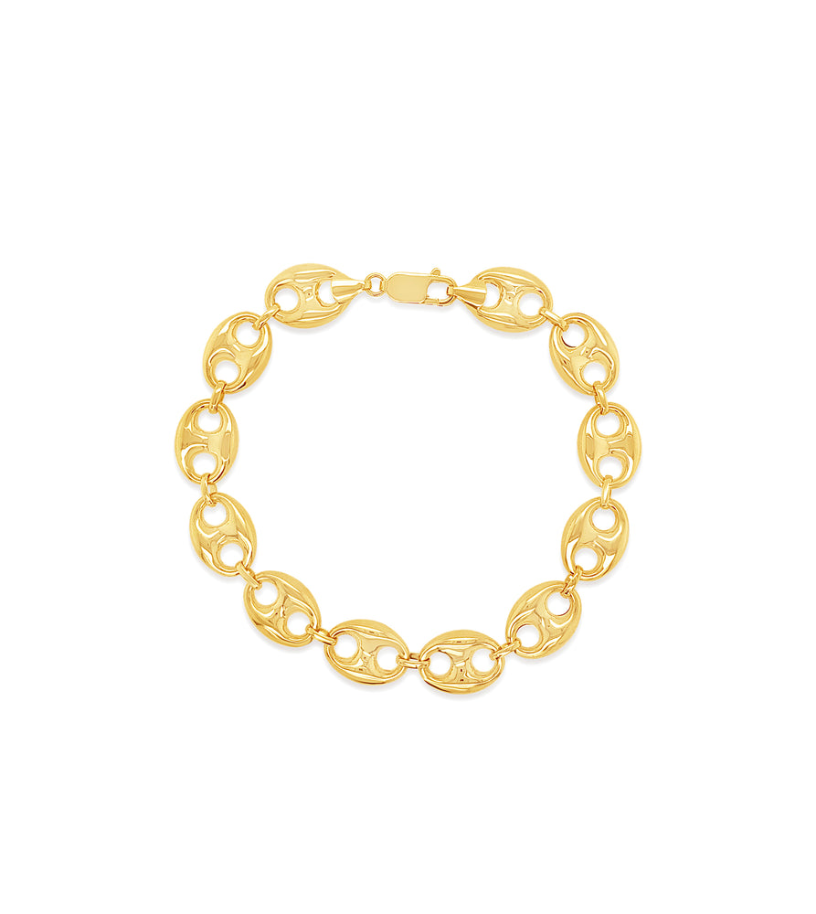 14k Gold Puffed Mariner Chain Bracelet - 14K  - Olive & Chain Fine Jewelry