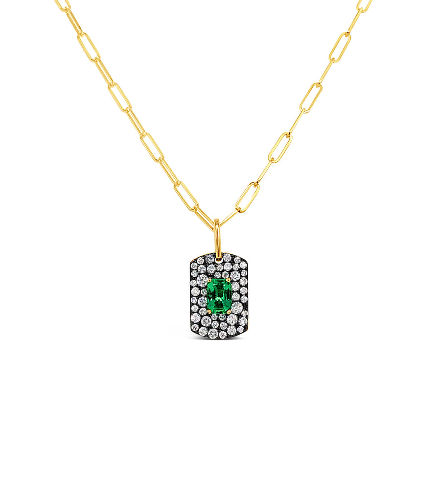 Emerald & Diamond Dog Tag Necklace - 14K Yellow Gold - Olive & Chain Fine Jewelry