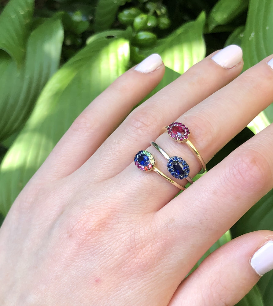 Sapphire and Rainbow Halo Ring - 14K  - Olive & Chain Fine Jewelry