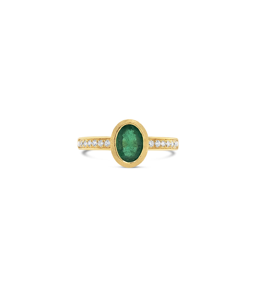Emerald & Diamond Ring - 14K Yellow Gold / 5 - Olive & Chain Fine Jewelry