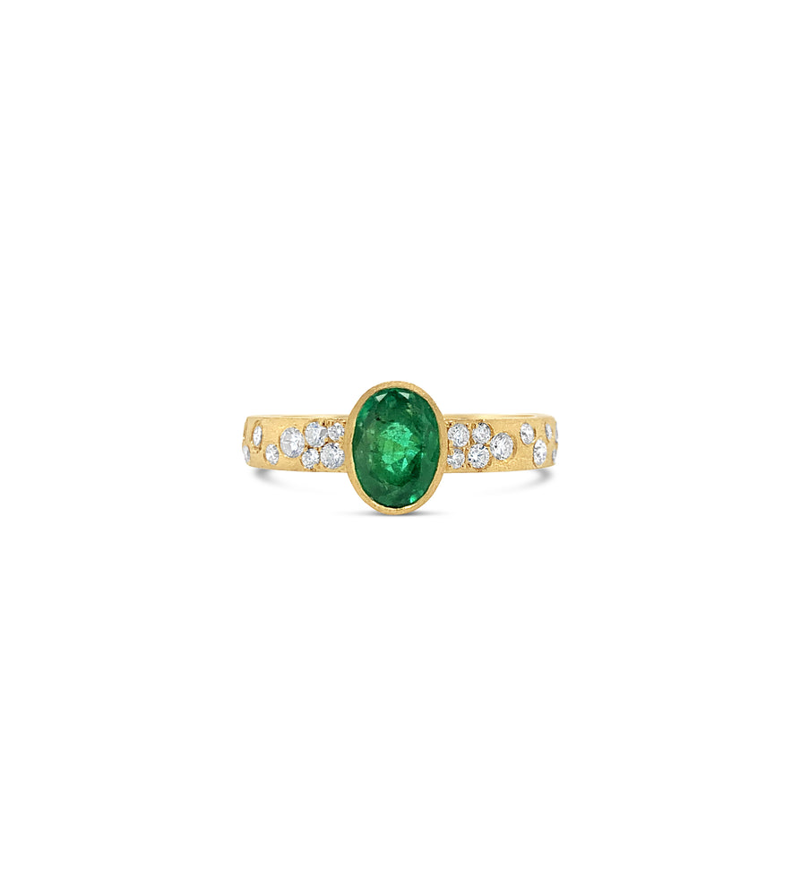 Emerald & Diamond Celestial Ring - 14K Yellow Gold / 5 - Olive & Chain Fine Jewelry