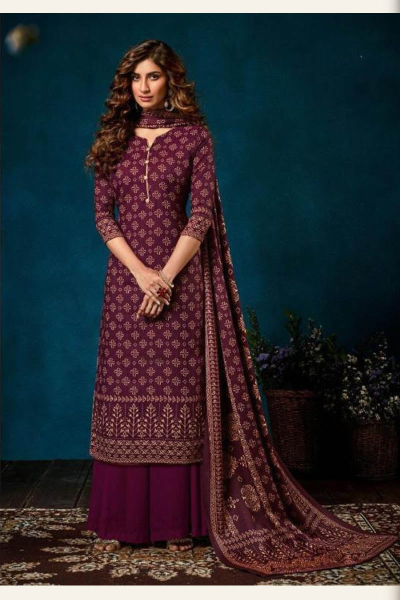 Beautiful Designer Pashmina Salwar Suit In Dark Purple Colour