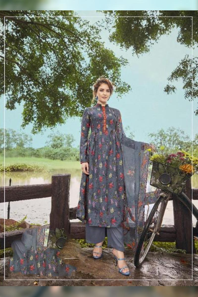 Digital Printed Pure Pashmina with Embroidery Work Dress Material Collection In Grey Colour