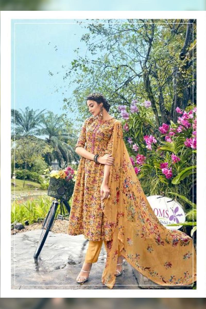 Digital Printed Pure Pashmina with Embroidery Work Dress In Mustard Yellow Colour