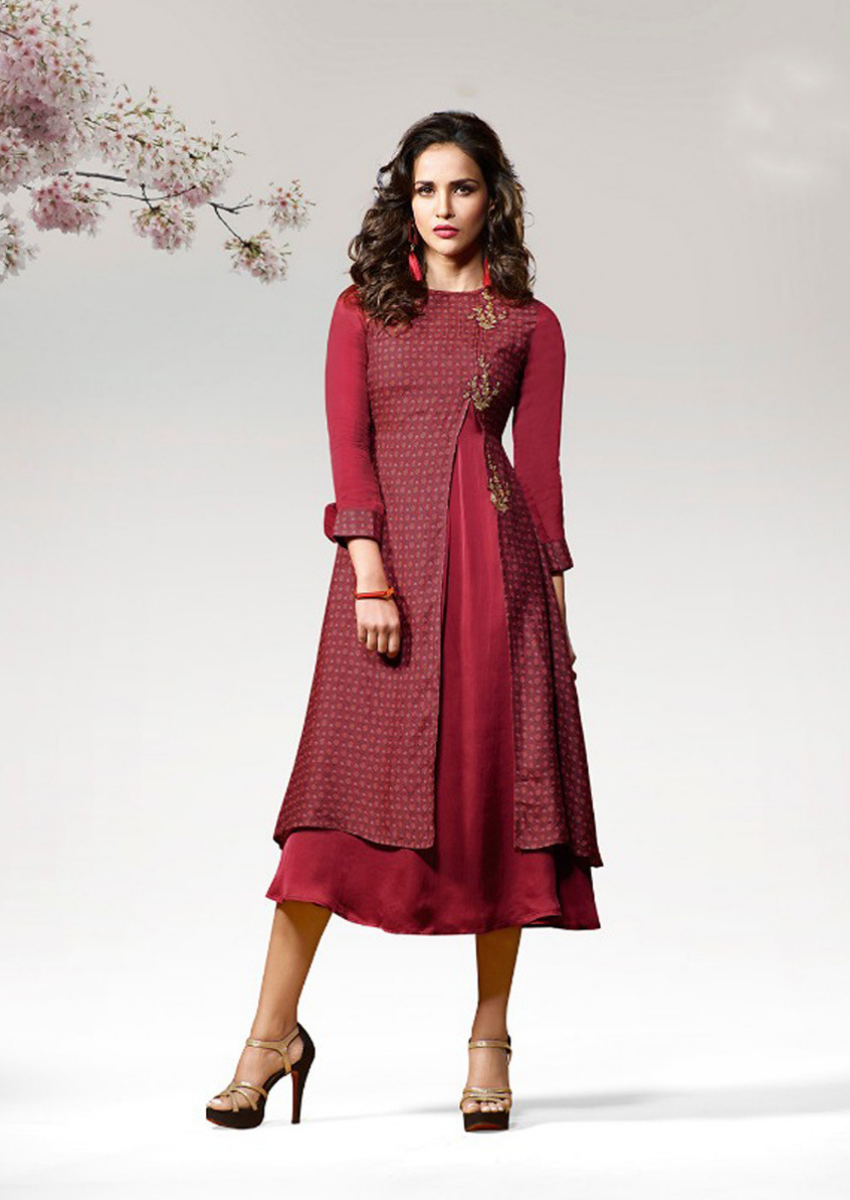 Spectacular Red designer Kurti with Flap