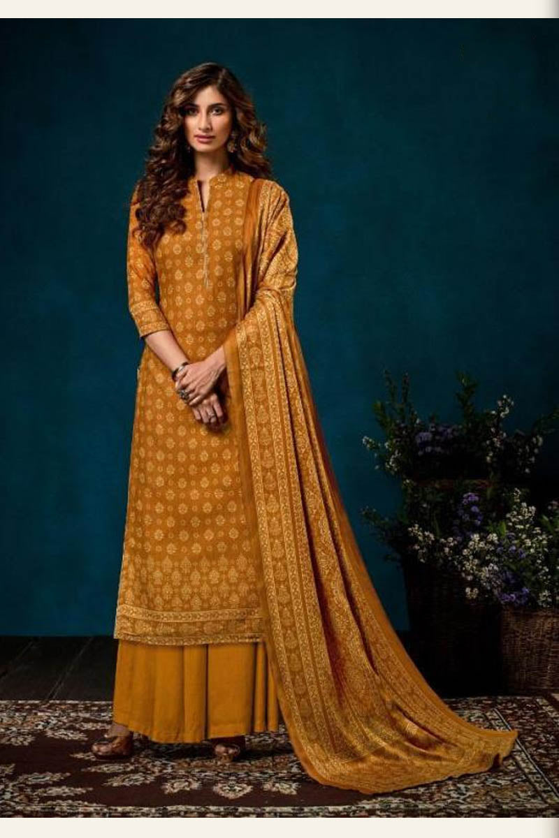 Beautiful Designer Pashmina Salwar Suit In Mustard Yellow Colour