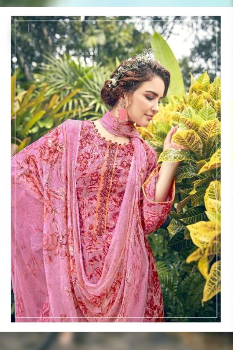Digital Printed Pure Pashmina with Embroidery Work Dress In Pink Colour